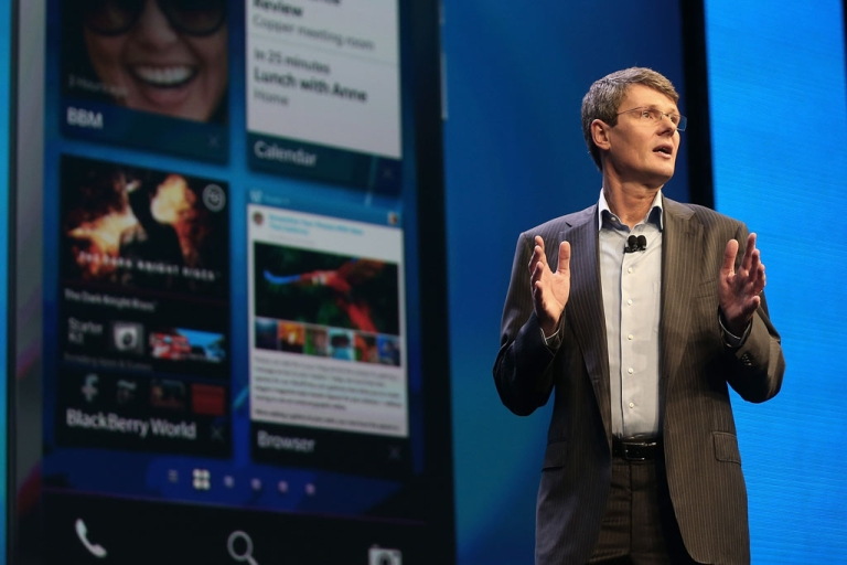 <p>BlackBerry Chief Executive Thorsten Heins speaks at the BlackBerry 10 launch event at Pier 36 in Manhattan on January 30, 2013 in New York City. Heins has resigned from the smartphone maker.</p>