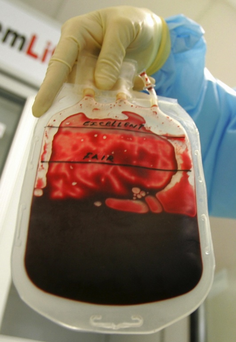 <p>This photo taken in March 2007 shows a Thai officer checking blood at Stem Life Company in Bangkok.</p>