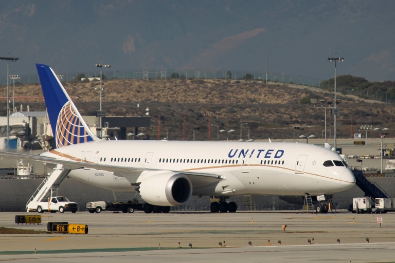 <p>A grounded Boeing 787 Dreamliner jet operated by United Airlines is parked at Los Angeles International Airport (LAX) on Jan. 17, 2013, in Los Angeles, Calif. The Federal Aviation Administration grounded all US-registered Dreamliner jets in January for the repair of batteries believed to be linked to a fire risk.</p>