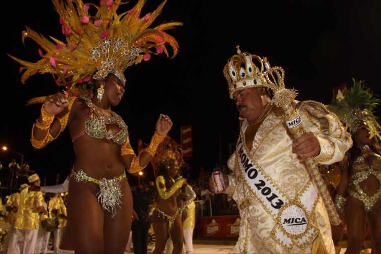 <p>On Jan. 18, 2013 during the Llamadas in Encarnacion, one of Paraguay's biggest carnival parades, performers from the San Clemente samba school in Rio de Janeiro dance with the King of the Carnival.</p>