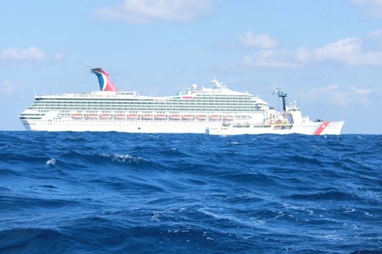 <p>In this handout from the U.S. Coast Guard, the cruise ship Carnival Triumph sits idle February 11, 2013 in the Gulf of Mexico. According to the Coast Guard, the ship lost propulsion power February 10, after a fire broke out in the engine room.</p>