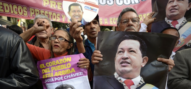 <p>Supporters of Venezuelan President Hugo Chavez gather in Caracas to celebrate after Chavez announced on Twitter that he had returned to the country from Cuba.</p>