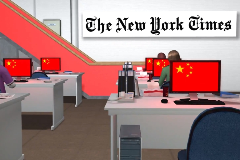 <p>A screengrab of a YouTube video by Taiwan's animation team NMA about Chinese military hackers attacking the US.</p>