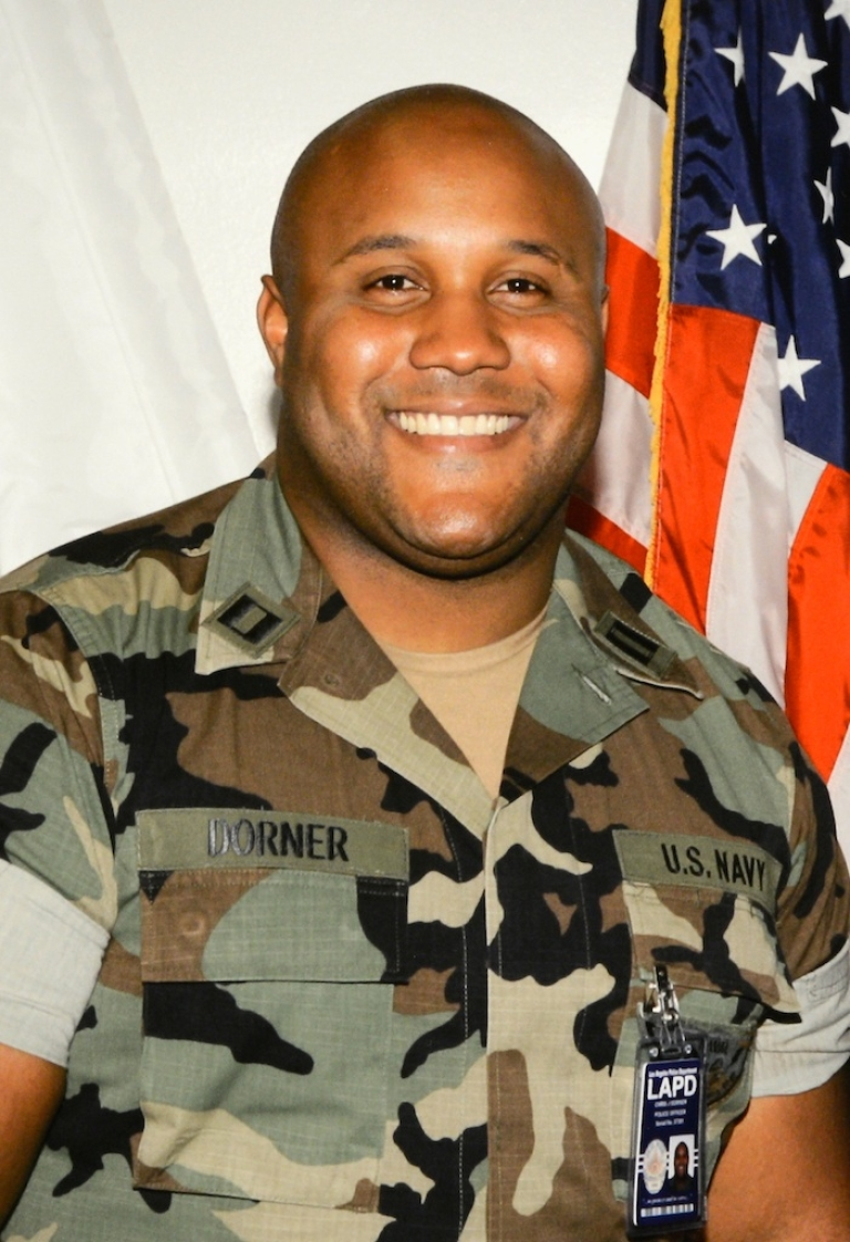 <p>In this handout picture provided by Los Angeles Police Department , the alleged suspect Christopher Dorner is seen on February 7, 2013 in Los Angeles, California. A former Los Angeles police officer Christopher Jordan Dorner, 33, who had allegedly warned he would target law enforcement, is suspected three police officers killing one. Dorner is also a suspect in two weekend killings of Monica Quan and Keith Lawrence who were found dead in a car inside a parking structure.</p>