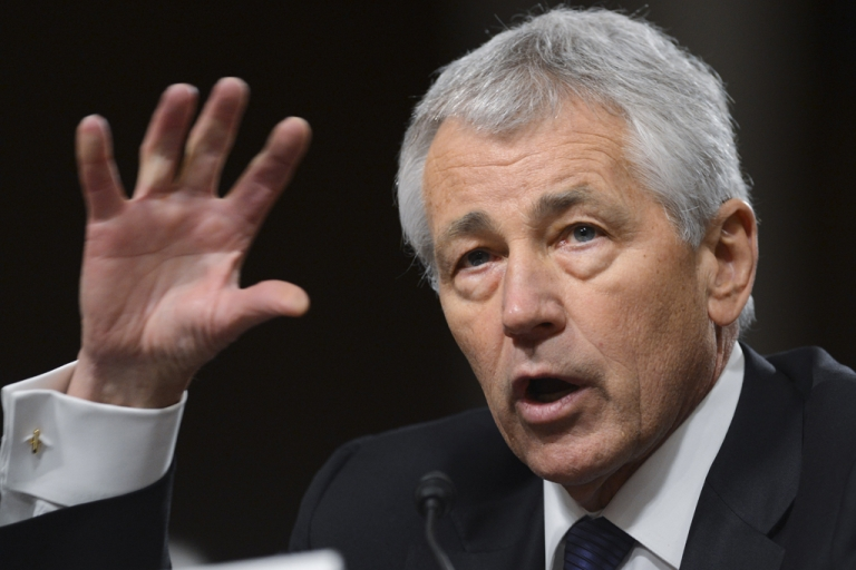 <p>Former US Senator Chuck Hagel, President Barack Obama's nominee for US Secretary of Defense, testifies during his confirmation hearing before the Senate Armed Services Committee on Capitol Hill in Washington, DC, on Jan. 31, 2013. Facing tough questions from some senators at his confirmation hearing, Hagel said in his opening remarks that he wanted to keep America's armed forces the strongest in the world and that he supported using military force to safeguard the country's interests.</p>