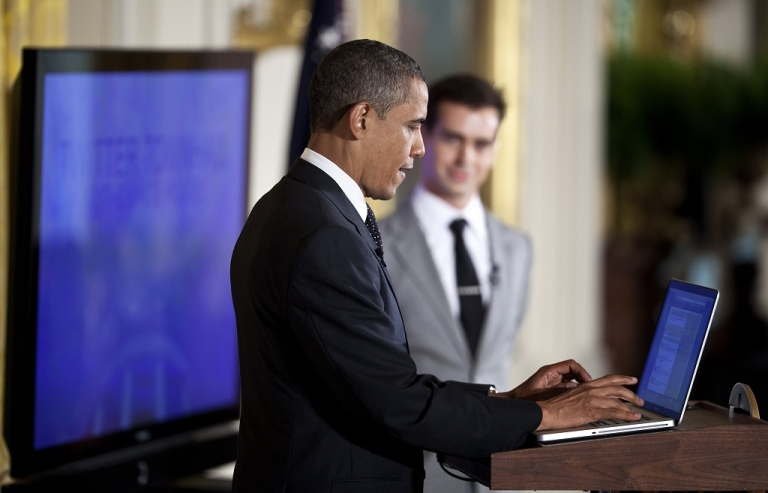 <p>President Barack Obama posts a Tweet during an online Twitter town hall meeting from the East Room of the White House July 6, 2011 in Washington, DC. Obama and Twitter co-founder and Executive Chairman Jack Dorsey held the online discussion to speak about the U.S .debt ceiling crisis.</p>