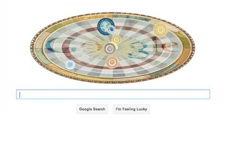 <p>This animated medieval model of the heliocentric solar system is a Google Doodle celebrating astronomer Nicolaus Copernicus' 540th birthday.</p>