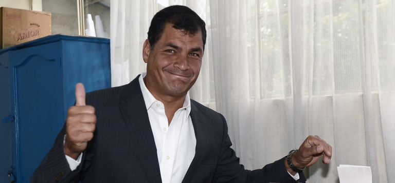<p>Ecuadorean President Rafael Correa casts his vote at a polling station in Quito on Feb. 17, in an election he won handily.</p>