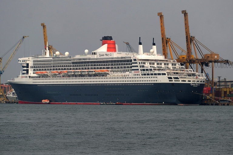 <p>The RMS Queen Mary is pictured during a brief stopover at the Colombo harbour on Feb. 4, 2013.</p>