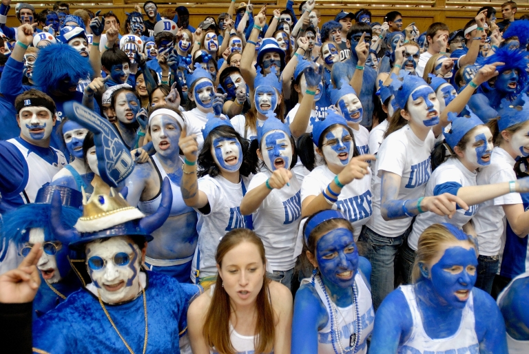 <p>Duke fans cheer as they wait for the start of a game between the Duke Blue Devils and the North Carolina Tar Heels on Feb. 7, 2007 at the Cameron Indoor Stadium in Durham, NC.</p>