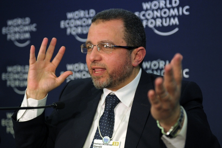 <p>Egyptian Prime Minister Hisham Kandil talks during a press conference at the congress center during the World Economic Forum in Davos on January 24, 2013</p>