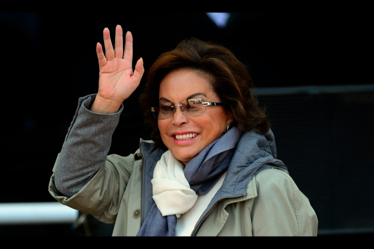 <p>Elba Esther Gordillo waves during the National Police Day ceremony in Mexico City, on June 2, 2012. Gordillo was arrested Feb. 26 on allegations of embezzling union funds for personal use.</p>