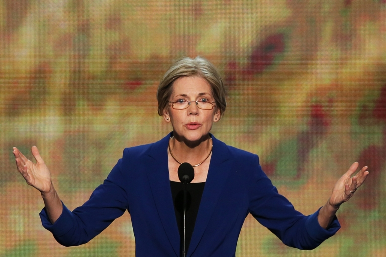 <p>Massachusetts Senator Elizabeth Warren speaks during day two of the Democratic National Convention at Time Warner Cable Arena on Sep. 5, 2012 in Charlotte, North Carolina.</p>