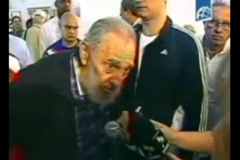 <p>In this screengrab, retired Cuban leader Fidel Castro talks with reporters while voting in the country's general election Feb. 3, 2013.</p>