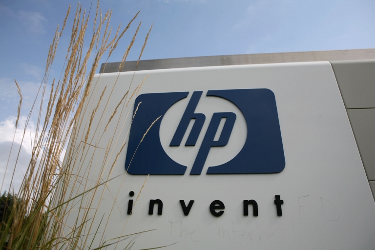 <p>The Hewlett-Packard logo is displayed on the entrance to the HP Headquarters on Sept. 16, 2008, in Palo Alto, Calif. HP recently became the first company on LinkedIn to get 1 million followers.</p>