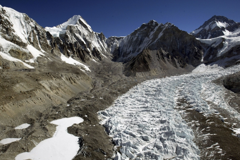 <p>An aerial photograph shows the Khumbu Icefall along Mt. Everest's West Shoulder on May 15, 2003 near the Nepal-Tibet border.</p>