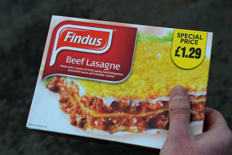<p>A man poses holding a Findus 320g beef lasagne frozen readymeal near Sunderland on February 8, 2013. Tests confirming beef lasagne sold under the Findus brand contained up to 100 percent horsemeat sparked a wider food scare in Britain on February 8 with authorities ordering urgent tests on all beef products on sale. Findus tested 18 of its beef lasagne products manufactured by French supplier Comigel and found 11 meals containing between 60 percent and 100 percent horsemeat, the FSA said.</p>
