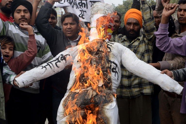 <p>Indian activists protest the twin bomb blasts in Hyderabad in Amritsar on Feb. 22, 2013.</p>