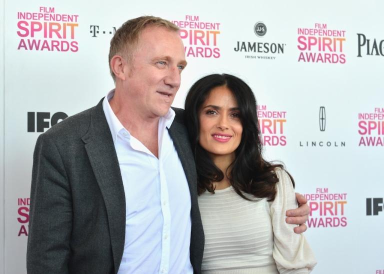 <p>Actress Salma Hayek (R) and Francois-Henri Pinault attend the 2013 Film Independent Spirit Awards at Santa Monica Beach on February 23, 2013 in Santa Monica, California.</p>