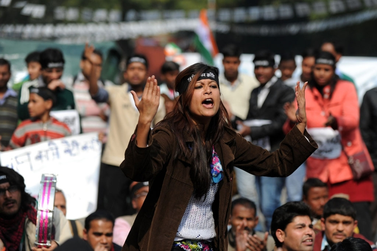 <p>An Indian protester shouts slogans during a demonstration in New Delhi on January 29, 2013, against last month's gang rape and murder of a student.</p>