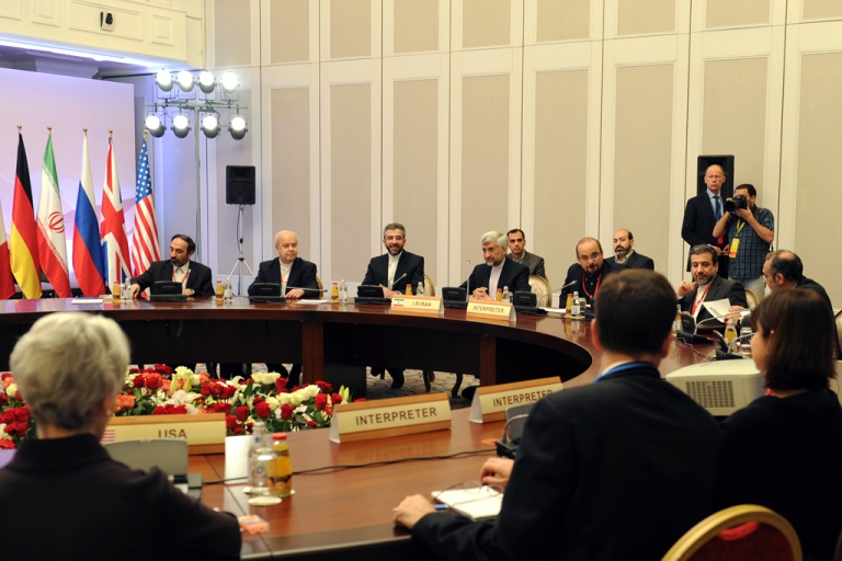 <p>Iran's representatives led by their top nuclear negotiator Saeed Jalili (back 4th L) take part in talks on Iran's nuclear program in the Kazakh city of Almaty on Feb. 27, 2013. World powers and Iran were due to respond today to offers presented by both sides in a final day of talks aimed at breaking a decade of deadlock over Tehran's nuclear drive.</p>