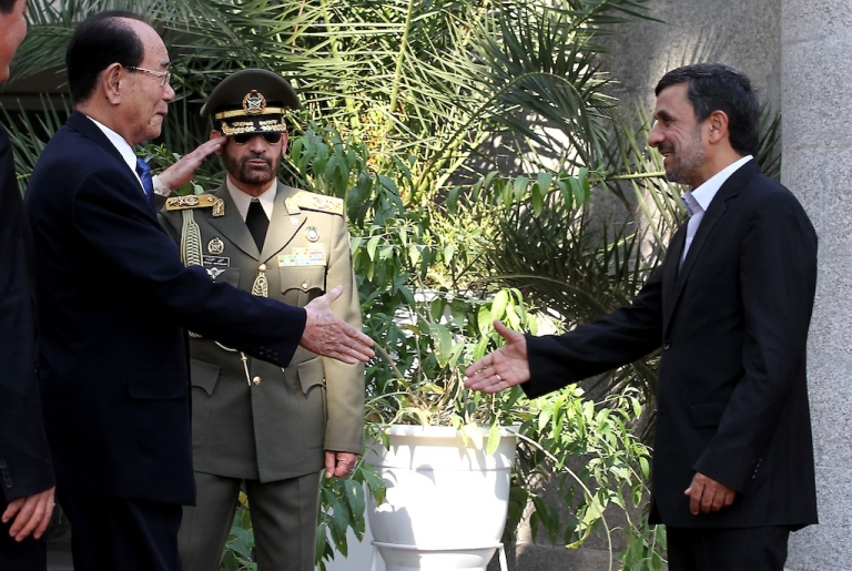 <p>Iranian President Mahmoud Ahmadinejad (R) shakes hands with North Korea's ceremonial head of state, Kim Yong-Nam in Tehran on Sept. 1, 2012.</p>