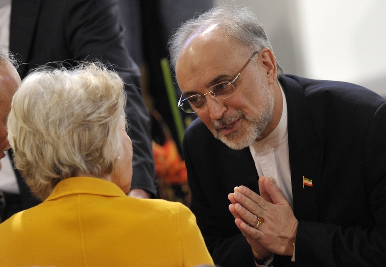 <p>Iran's Foreign Minister Ali Akbar Salehi (R) greets US Director of the Woodrow Wilson Intenational Center for Scholars, Jane Margaret Harman on the third day of the 49th Munich Security Conference on February 3, 2013 in Munich, southern Germany as world leaders, ministers and top military gather for talks with the spotlight on Syria, Mali and Iran.</p>