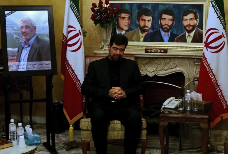 <p>Iranian Ambassador to Beirut Ghazanfar Asl Roknabadi receives condolences following the death of Revolutionary Guards commander Hassan Shateri in Syria.</p>