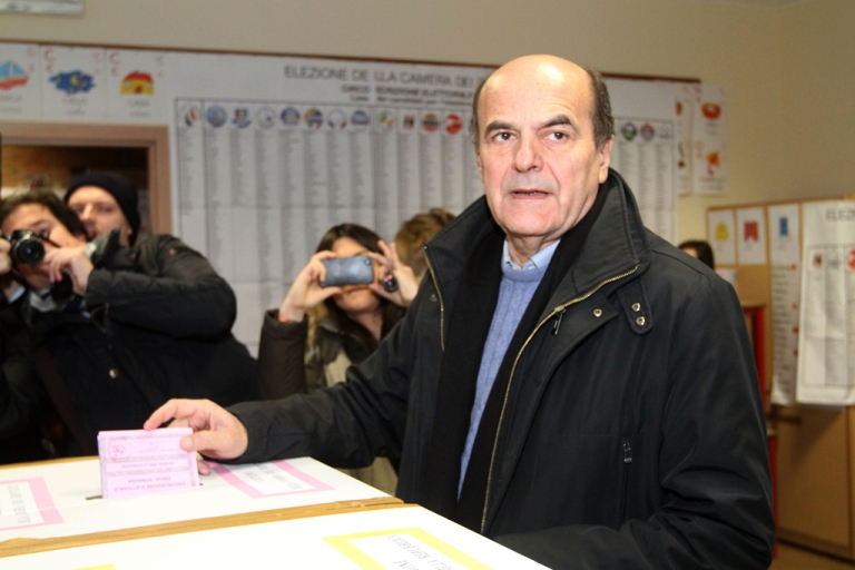 <p>Democratic Party's Pier Luigi Bersani, the favourite to become Italy's prime minister after the general election, casts his ballot in a polling station on February 24, 2013 in Piacenza. Italians fed up with austerity went to the polls on Sunday in elections where the centre-left is the favourite, as Europe held its breath for signs of fresh instability in the eurozone's third economy.</p>