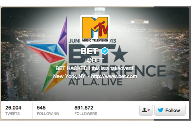 <p>Jeep's Twitter account was hacked, and BET's Twitter account appeared to be hacked as well.</p>