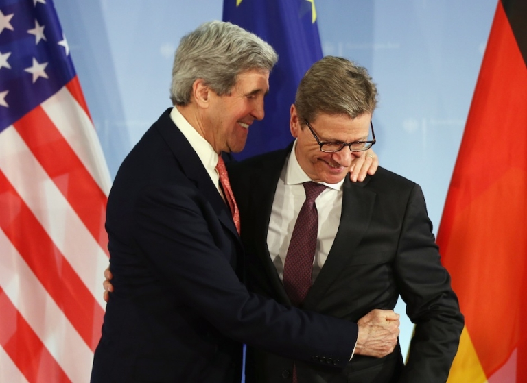 <p>BERLIN, GERMANY - FEBRUARY 26: U.S. Secretary of State John Kerry (L) and German Foreign Minister Guido Westerelle depart after speaking to the media following talks at the Foreign Ministry on February 2, 2013 in Berlin, Germany. Kerry is scheduled to meet with German Chancellor Angela Merkel and Russian Foreign Minister Sergey Lavrov later in the day.</p>