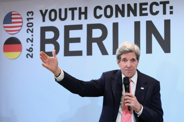 <p>US Secretary of State John Kerry holds a conversation with a group of invited young people as part of his Youth Connect series of discussions on Feb. 26, 2013, in Berlin in his first trip abroad since taking over for Hillary Clinton.</p>