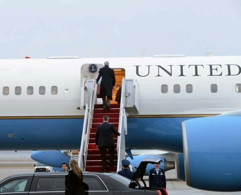 <p>John Kerry boards an airplane at Joint Base Andrews in Maryland at the start of his Feb. 24 to March 6 trip to Europe and the Middle East.</p>