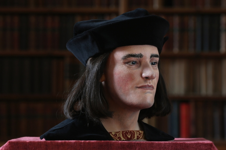 <p>A facial reconstruction of King Richard III is unveiled by the Richard III Society on Feb. 5, 2013, in London. After  carrying out a series scientific investigations on remains found in a car park in Leicester, the University of Leicester announced that they were those of King Richard III.</p>