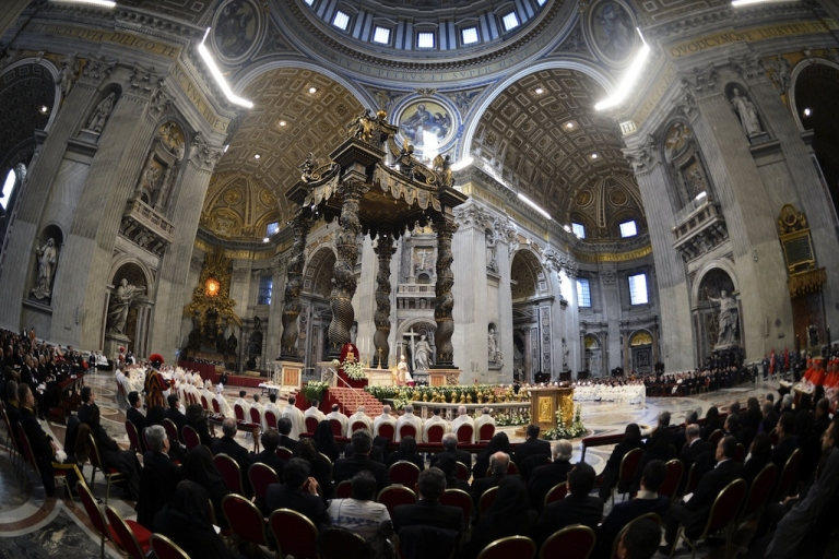 <p>Mass in St. Peter's Basilica in Vatican City.</p>