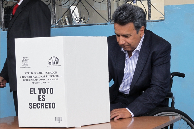 <p>Ecuadorean Vice President Lenin Moreno casts his vote in Quito on May 7, 2011. Moreno was elected vice president in 2006, but last month he became acting president when President Rafael Correa took a leave of absence to campaign for re-election in Ecuador's Feb. 17 vote.</p>