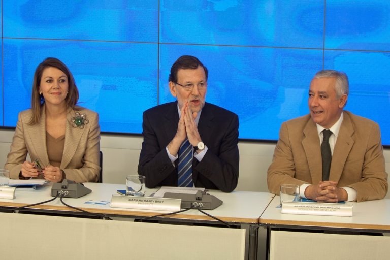 <p>From left, Popular Party Secretary General Maria Dolores de Cospedal, Spanish Prime Minister Mariano Rajoy and PP Vice Secretary Javier Arenas. The conservative party is under fire after allegations of corruption.</p>