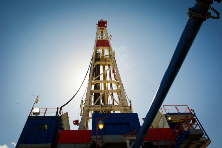 <p>A Consol Energy horizontal gas drilling rig explores the Marcellus Shale outside the town of Waynesburg, PA on Apr. 13, 2012.</p>