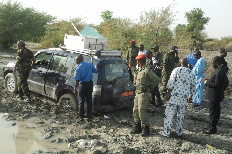 <p>Cameroonian policemen and soldiers near the Nigerian border surround the vehicle in which seven members of a French family were driving this month before being seized by six gunmen on three motorbikes.</p>