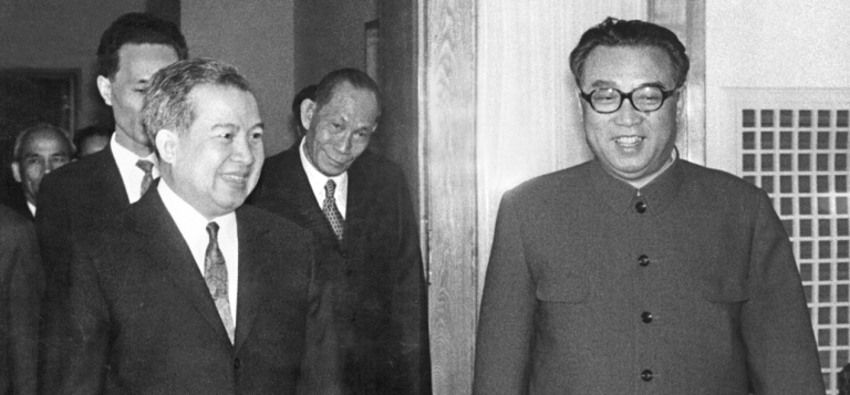 <p>Norodom Sihanouk, former King of Cambodia (left) is welcomed on April 22, 1975, in Pyongyang by North Korean President and