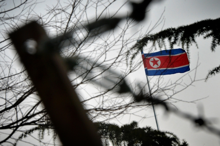 <p>The North Korean flag flies outside their embassy in Beijing on Dec. 12, 2012.</p>
