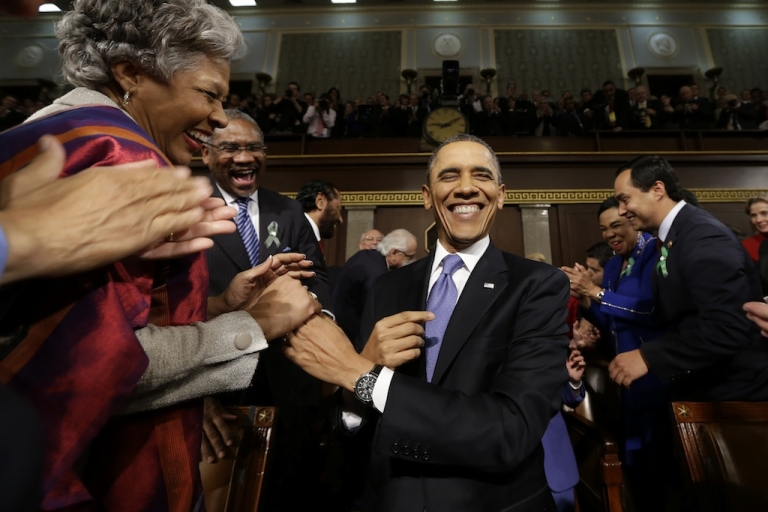 <p>President Barack Obama arrives at Congress to deliver his State of the Union address</p>