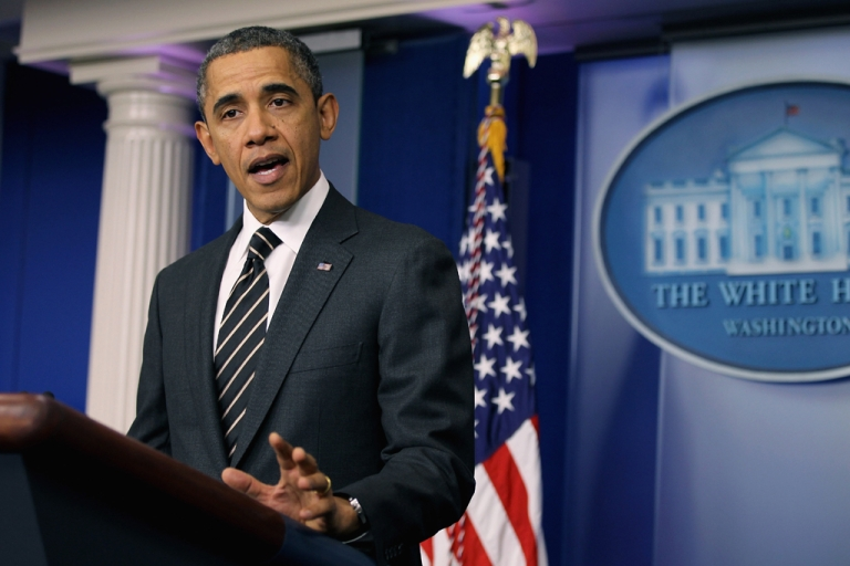 <p>President Barack Obama urged Congress on Feb. 5, 2013, in a statement at the White House to take action to avoid sequester cuts with a short -term budget fix.</p>