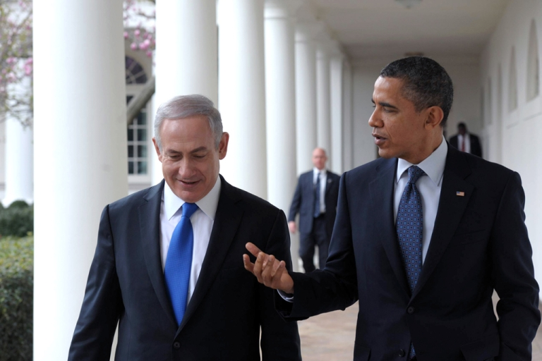 <p>In this handout photo from the Israeli Government Press Office (GPO), U.S. President Barack Obama (R) talks with Prime Minister Benjamin Netanyahu as they walk along the Colonnade of the White House on March 5, 2012 in Washington, DC. Obama is planning to visit Israel in the spring of 2013.</p>
