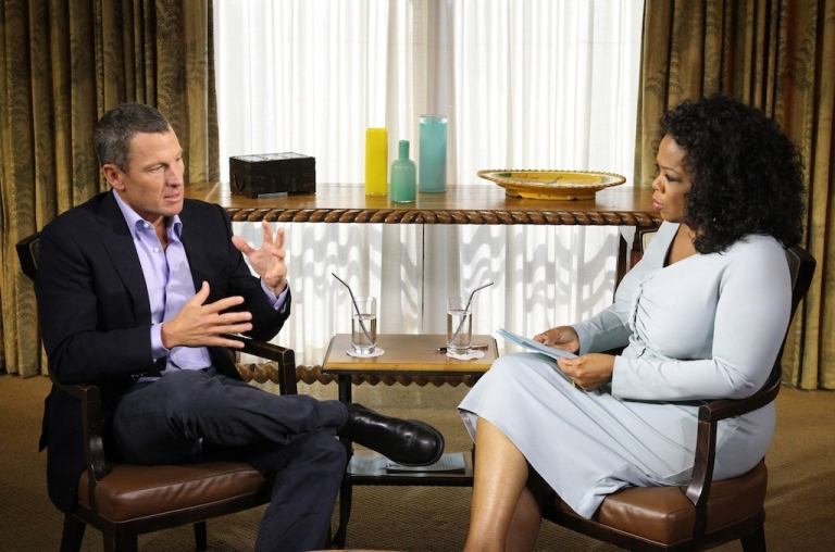<p>In this handout photo provided by the Oprah Winfrey Network, Oprah Winfrey (R) speaks with Lance Armstrong during an interview regarding the controversy surrounding his cycling career January 14, 2013 in Austin, Texas.</p>