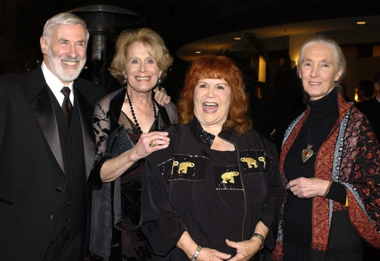 <p>IDA President Elliot Katz, DVM, Humane Society President Gretchen Wyler, animal activist Pat Derby and Dr. Jane Goodall attend the 2nd Annual Guardian Awards fundraiser hosted by the In Defense of Animals organization at Paramount Studios October 30, 2004 in Hollywood, California.</p>