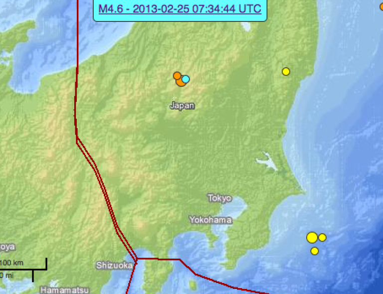 <p>US Geological Survey imagery of the Feb 25th, 2013 earthquakes in Japan.</p>