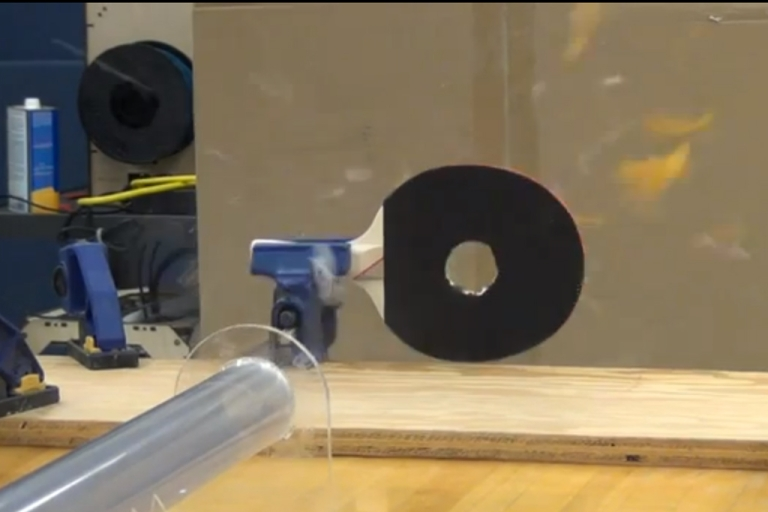 <p>A professor at Purdue University has created a machine that can fire ping pong balls at over Mach speed.</p>