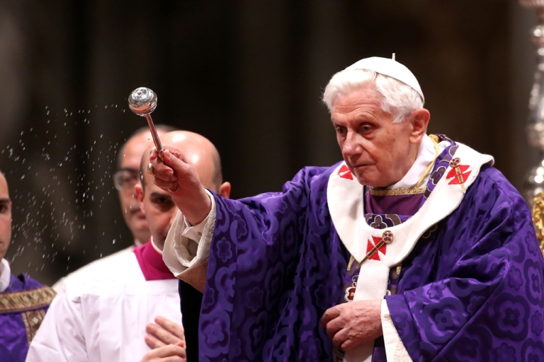 <p>Pope Benedict XVI leads the Ash Wednesday service at the St. Peter's Basilica on Feb. 13, 2013, in Vatican City, Vatican. Benedict's announcement that he will resign on Feb. 28 took many by surprise, but the focus has since turned to who will be his successor as pope.</p>