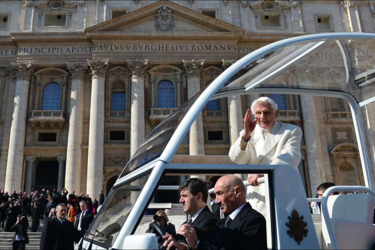 <p>Pope Benedict XVI waves as he leaves in his papamobile at the end of his last weekly audience on February 27, 2013 at St Peter's square at the Vatican. Pope Benedict XVI will hold the last audience of his pontificate in St Peter's Square on Wednesday on the eve of his historic resignation as leader of the world's 1.2 billion Catholics.</p>